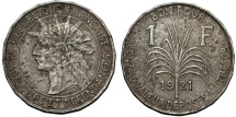 World Coins - Guadeloupe. French Colony Issue. CuNi 1 Franc 1921. VF