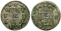 World Coins - Netherlands. West Frisia. AR 2 Stuivers 1791. XF
