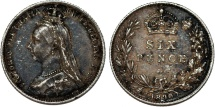 World Coins - Great Britain. Queen Victoria (1837-1901) Silver 6 Pence 1890. Choice VF, toned