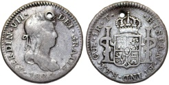 World Coins - Spanish Colony. Peru. Rare Cuzco mint. Charles IV. Silver 2 Reales 1824/3 T. Fine, holed