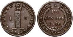World Coins - Republic of Haiti. CU Centime AN 43 (1846). aVF.