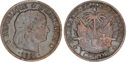 World Coins - Haiti. Republic. Cu 1 Centime 1881. aXF