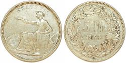 World Coins - SWITZERLAND. Switzerland Confederation. Helvetia Type 5 Francs 1874 B. About VF