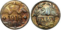 World Coins - German East Africa (Tanzania) . Brass 20 Heller 1916 T. About XF