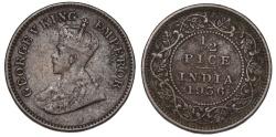 World Coins - British India. George V. AE 1/2 Pice 1936C. VF+