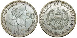 World Coins - Republic of Guatemala. Silver 50 cents 1962. Choice UNC