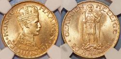 World Coins - Norway. Haakon VII. 1905-1957. Gold 20 Kroner 1910. NGC MS63