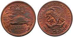 World Coins - Mexico. Republic. Cu 20 Centavos 1957. Chioce UNC