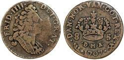 World Coins - NORWAY as part of Danish Kingdom: Frederik IV (1699-1730) AR 8 Skilling 1707. Fine+
