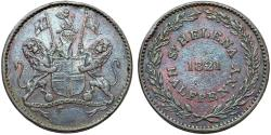 World Coins - British Colony: Famous Island of St. Helena. AE Half Penny 1821. Good XF