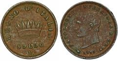 World Coins - Italian Kingdom of Napoleon Bonaparte. Milan. (1804-1814). Cu Soldo 1813 M. Choice VF