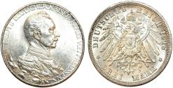 World Coins - Imperial Germany. Prussia. Wilhelm II (1888-1916). AR 3 Mark 1913A. UNC