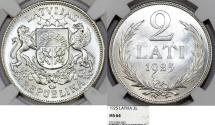 World Coins - Latvia (ex Livonia). Republic (1918-1940) AR 2 Lati 1925. NGC MS64