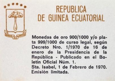 World Coins - Equatorial Guinea. Republic. Comemmorative 75 Pesetas Guineas 1970. Abraham Lincoln.  Proof