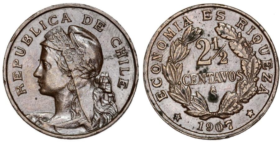 World Coins - Chile. Republic. Nice CU 2 1/2 Centavo 1907. Choice XF/AU