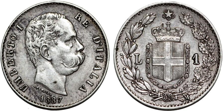 World Coins - Italy. Kingdom. Umberto I. AR 1 Lira 1887. Nice XF