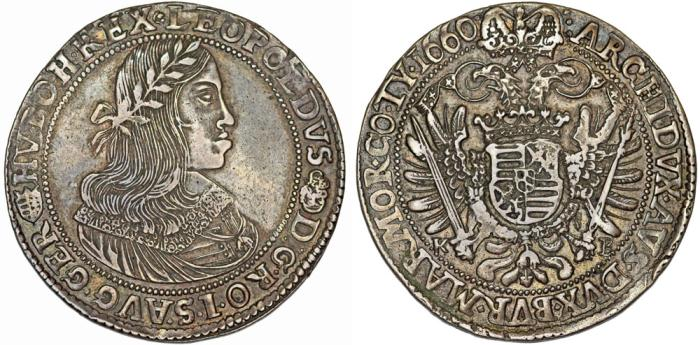 World Coins - H.R.E. Hungary. Emperor Leopold I (1658-1705). AR Thaler 1660 KB. Choice VF.