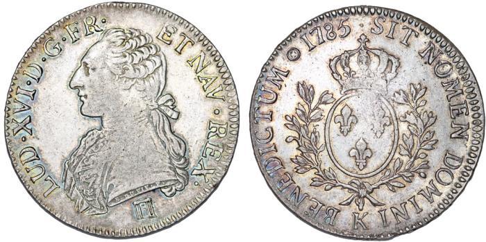 World Coins - France. King Louis XVI, 1774-1793. Silver ECU 1785 K. Very Nice Choice VF. RARE Mint!