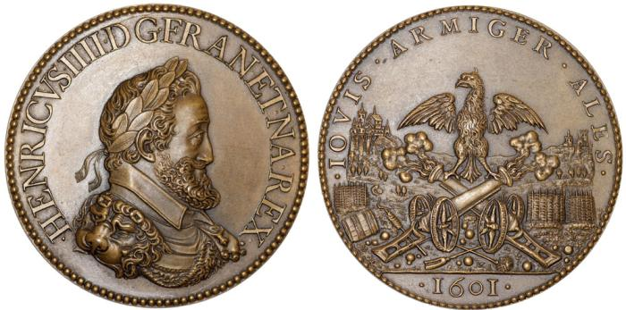 World Coins - FRANCE. The Danfries. Philip I (c.1531-1606) and Philip II (c.1572-1604). Henry IV (1589-1610., Restrike of Copper Medal, The Artillery 1601. UNC
