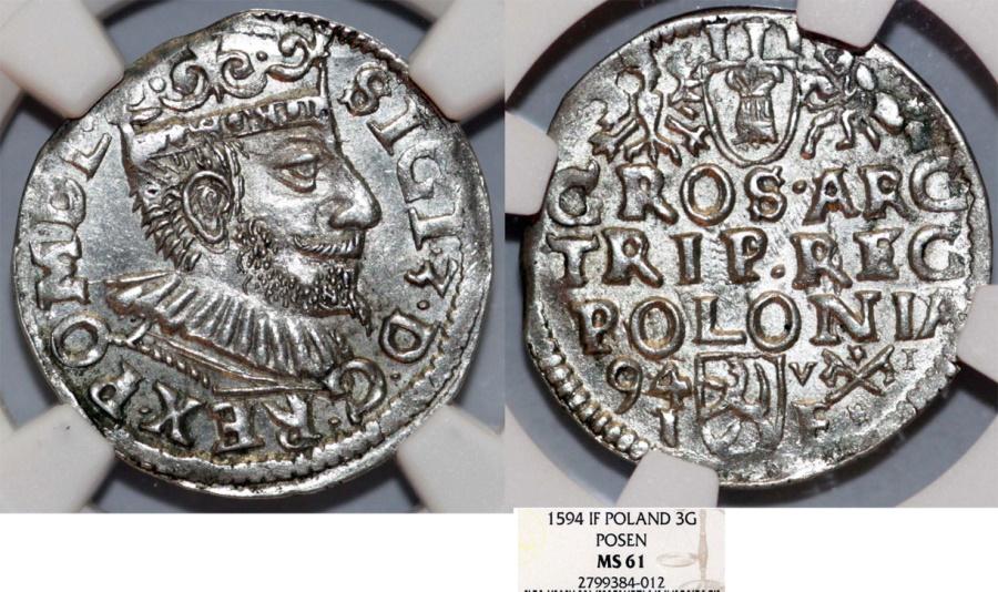 World Coins - Poland. Posen. Sigismund III (1587-1632). Silver 3 Gross - Trojak 1594. NGC MS 61