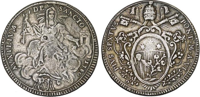 World Coins - Italian Papal States: Rome. Pope Pio VI (1775-1799) – Giovanni Angelo Braschi. AR Scudo 1780. aVF