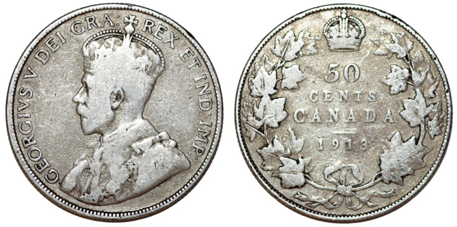 World Coins - Canada. Silver 50 cents 1913. VG+