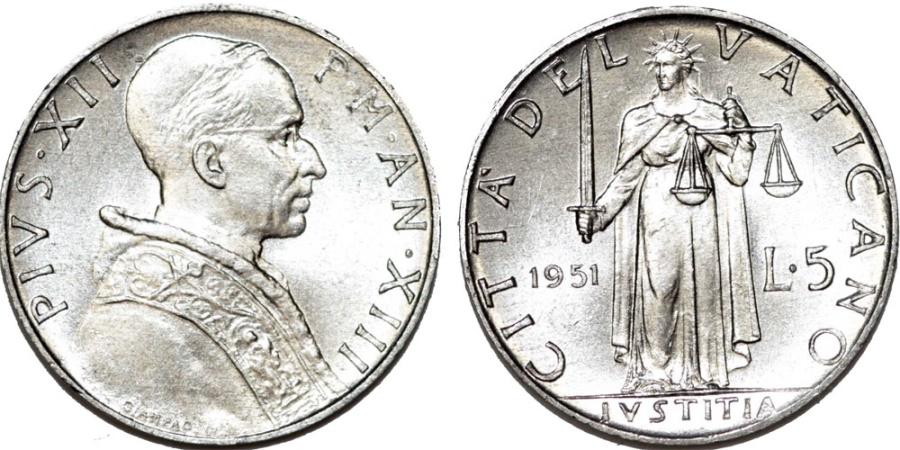 World Coins - Vatican City. Pope Pius XII. Al 5 Lire 1951. Justitia. BU