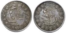 World Coins - GERMANY, Hildesheim (Bistum). Sede Vacante. AR Medallic issue of 1 1/2 Taler 1761. Choice AU, toned