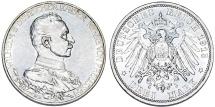 World Coins - Germany. Prussia. Wilhelm II. AR 3 Mark 1913A. AU+