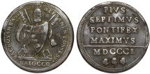 World Coins - Italian Papal States. Vatican. Pope Pius VII (1800-1827). AE 1 Baiocci (Laternal Issue) 1801. Nice VF