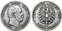 World Coins - Germany Empire. Prussia. Wilhelm I (1871-1888). Silver 5 Mark 1876 C. VF