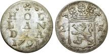 World Coins - Netherlands. Holland. AR 2 Stuivers 1791. Nice Choice XF/AU