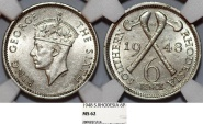 World Coins - Southern Rhodesia as British Colony. King George VI. CuNi 6 Pence 1948. NGC MS62