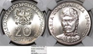 """World Coins - Poland. PRL (1945-1989). CuNi 20 zl. 1978. """" Famous Polish Writer"""" NGC MS64"""