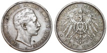 World Coins - Germany Empire. Prussia. Wilhelm II (1888-1918). Silver 5 Mark 1895 A. Toned XF
