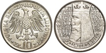 "World Coins - Poland. P.R.L. 1952-1989. Ni 10 Zloty 1964. ""Jagiellonian University"" UNC"