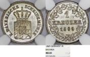 World Coins - Germany. Bavaria. Maximilian II (1848-1864). AR 1 Kreuzer 1869. NGC MS65.
