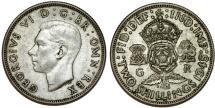 World Coins - Great Britain. George VI. AR Florin 1945. Choice XF/AU , toned.