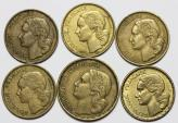 World Coins - France. Lot of 6 Coins: 20 Francs - 50 Francs 1950-1953. XF - UNC