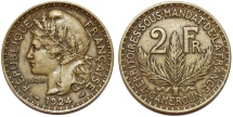 World Coins - French Colony of Cameroon. Aluminium-Bronze 2 Francs 1924 A. Choice XF, RARE!