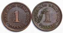 World Coins - Germany: Lot of 2 Coins: Pfennig 1900-1907. Nice XF.