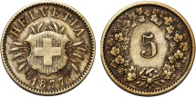World Coins - Switzerland. Federation Issue. Bi 5 Rappen 1877B. Good XF, RARE LAST DATE