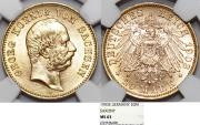 World Coins - German Empire. Saxony (Sachsen). George (1902-1904). Gold 20 Marks 1903E. NGC MS63