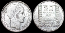 World Coins - France. Republic. Silver 20 Francs 1938. UNC