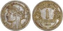 World Coins - French West Africa: 1 Franc 1944. Choice XF