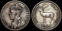 Mauritius. George V. AR 1/2 Rupee 1934. Choice XF, toned
