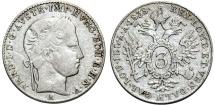 World Coins - Austrian Empire. Ferdinand I. AR 3  Kreuzer 1838V. VF, scarce