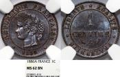 World Coins - France. III Republic . Cu Centime 1886 A. NGC MS62 BN