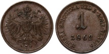 World Coins - Italy. Austrian rule: Lombardy-Venetia. CU 1 Soldo 1862 A . CHoice XF.