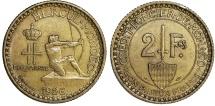 Monaco. Louis II. Al-Br 2 Francs 1926. Choice XF/AU